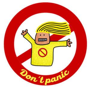 Panneau avec personnage et écrit Don't panic